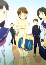 2boys 3girls bag blush brown_hair clothed_female_nude_female clothed_male_nude_female covering_breasts covering_crotch embarrassed multiple_boys multiple_girls nude onlookers outdoors public_nudity school_uniform short_hair