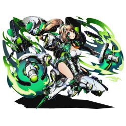 1girl armor armored_boots boots breasts brown_hair cleavage divine_gate floating_hair full_body gauntlets green_eyes hair_ornament high_ponytail kikai_musume large_breasts leotard long_hair maikaze_(kikai_musume) mecha_musume necktie official_art orange_necktie shadow short_necktie solo transparent_background ucmm very_long_hair