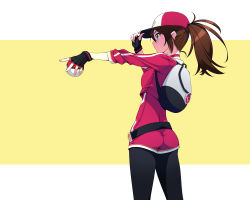 1girl ass brown_hair female_protagonist_(pokemon_go) fingerless_gloves gloves hat highres long_hair murakami_suigun outstretched_arm peaked_cap poke_ball pokemon pokemon_go pokemon_trainer ponytail profile solo