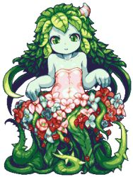 1girl alraune bare_shoulders blue_skin curtsey dress flat_chest flower green_eyes green_hair hair_ornament leaf long_hair lowres making_of monster_girl original parted_lips pixel_art plant_girl sb sb_(coco1) simple_background solo thorns vines wearing_plant white_background