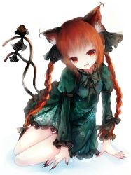 1girl animal_ears basilis9 bow braid cat_ears cat_tail hair_bow highres kaenbyou_rin multiple_tails red_eyes red_hair ribbon short_hair solo tail touhou twin_braids