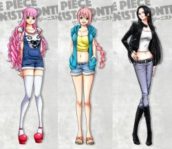 3girls black_hair boa_hancock braid breasts female large_breasts looking_at_viewer multiple_girls one_piece perona pink_hair rebecca_(one_piece) smile solo