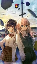 2girls :d artist_name bangs black_hair blonde_hair blue_eyes bow brown_bow brown_eyes brown_skirt closed_mouth cloud cloudy_sky collared_shirt cowboy_shot evening eyebrows_visible_through_hair ground_vehicle hand_in_pocket hand_on_hip high-waist_skirt highres looking_at_viewer multiple_girls open_mouth original outdoors plaid plaid_skirt pleated_skirt ribbed_sweater shirt short_hair side-by-side signature skirt sky smile sukja suspenders sweater teeth traffic_light train turtleneck turtleneck_sweater white_shirt