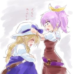 2girls ^_^ ^o^ adjusting_another's_clothes blonde_hair blush_stickers bow bracelet cowboy_shot dress eyes_closed hair_ribbon hat hat_bow jewelry long_hair multiple_girls open_mouth ponytail profile purple_eyes purple_hair ribbon short_hair siblings sisters sketch smile touhou translated unya watatsuki_no_toyohime watatsuki_no_yorihime younger