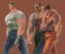 3boys abs amulet bengus black_hair blonde_hair brown_hair cody_travers denim facial_hair final_fight gai_(final_fight) jeans male mike_haggar multiple_boys muscle mustache ninja pants shirtless short_hair simple_background suspenders t-shirt walking wrist_wraps