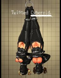 2girls 3d bdsm bondage breasts hanging latex mask multiple_girls suspension uncensored upside-down