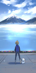 1boy akame_ga_kill! brown_hair dog flower hekatonkheires jacket landscape mountain official_art sea square_enix tashiro_tetsuya tatsumi_(akame_ga_kill!)