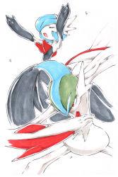 arm_blade artist_request blush fighting_stance gallade gardevoir mega_gallade mega_gardevoir mega_pokemon no_humans pokemon pokemon_(game) pokemon_oras pose red_eyes shiny_pokemon