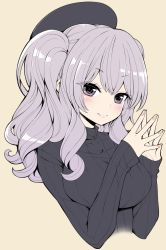 1girl alternate_costume beret breasts hanauna hat kantai_collection kashima_(kantai_collection) large_breasts looking_at_viewer purple_eyes ribbed_sweater silver_hair simple_background solo sweater upper_body wavy_hair