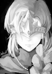 1girl arkish artist_name black_background dark_souls_iii dated fire_keeper greyscale monochrome sketch solo souls_(from_software)