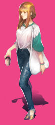 1girl blonde_hair bracelet coffee_cup denim ha_tav high_heels highres jeans jewelry lips long_hair original pants pink_background simple_background solo yellow_eyes