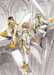 3boys absurdres black_hair blonde_hair brown_eyes brown_hair clamp fay_d_flourite highres kurogane_(tsubasa_chronicle) looking_at_viewer multiple_boys ribbon sitting snow tsubasa_chronicle xiaolang yellow_ribbon