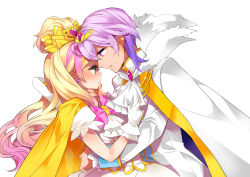 1boy 1girl blonde_hair bow brooch cape couple cowboy_shot cravat cure_flora edoya_pochi eye_contact gloves go!_princess_precure grand_princess_(go!_princess_precure) haruno_haruka hetero jewelry long_hair looking_at_another magical_girl multicolored_hair pink_bow pink_hair popped_collar precure prince_kanata purple_hair two-tone_hair white_background white_gloves