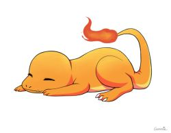 animated animated_gif artist_name charmander claws eunnieboo fangs fire full_body no_humans pokemon pokemon_(creature) signature sleeping solo tail yawning