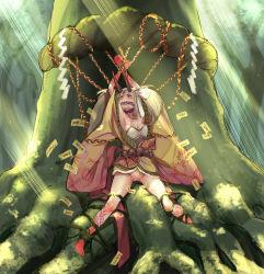 1girl blonde_hair bondage bound ekakinoetora fate/grand_order fate_(series) gagged highres horns ibaraki_douji_(fate/grand_order) japanese_clothes kimono long_hair ofuda oni pussy rope saliva shimenawa solo tied_up tree