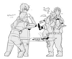 1girl 3boys anger_vein angry boots crying glasses gloves goggles goggles_on_head highres hunk_(voltron) hyakujuu-ou_golion jumpsuit keith_(voltron) korean lance_(voltron) looking_at_another monochrome multiple_boys pidge_gundarsson pointing restrained reverse_trap short_hair simple_background sonnet_form streaming_tears table tears voltron:_legendary_defender wavy_mouth white_background