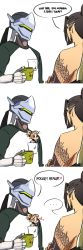 ... 1girl 2boys 3koma amidalaed blush_stickers brothers chibi comic cup cyborg english genji_(overwatch) hanzo_(overwatch) heart highres mechanical_halo mercy_(overwatch) minigirl mug multiple_boys overwatch raglan_sleeves shirt_pocket siblings stitched tattoo too_literal