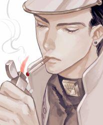 1boy black_hair cigarette coat earrings eyes_closed face hat highres holding jewelry jojo_no_kimyou_na_bouken kuujou_joutarou lighter male_focus smoke smoking solo stud_earrings supocon turtleneck zippo_(object)