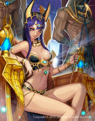 1girl 2boys abs anubis armor artist_request bangs bikini_armor black_nails bracelet breasts egyptian egyptian_clothes egyptian_mythology gold headgear highres jewelry kim_jin_sung long_hair looking_at_viewer makeup mask medium_breasts multiple_boys nail_polish necklace night nipples original parted_lips pink_eyes purple_hair revealing_clothes revision scepter sitting smile sparkle strapless throne tiara