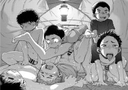 6+boys anal barefoot camping drooling erection feet grin group_sex lamp lifting male_focus monochrome multiple_boys open_mouth orgy penetration penis saliva sex shigeru_(shounen_zoom) shota sitting_on_person smile sweat tagme tent testicles toes tongue tongue_out yaoi