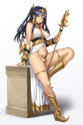 1girl black_hair blue_hair boots bracer breasts c-string cleavage egyptian_clothes gold heterochromia highres horus_(houtengeki) houtengeki jewelry large_breasts long_hair looking_at_viewer multicolored multicolored_eyes navel original pedestal red_eyes solo staff thigh_strap twintails yellow_eyes