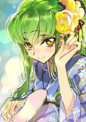 1girl c.c. code_geass creayus fan gradient_background green_hair hair_ornament japanese_clothes kimono long_hair looking_at_viewer smile solo yellow_eyes yukata