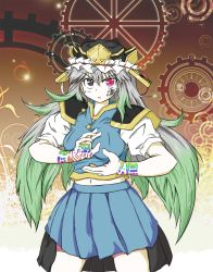 1girl female gears glyph gradient_hair green_hair grey_hair hat heterochromia highres long_hair markings multicolored_hair navel original pleated_skirt ripua serious shiki_eika shiki_eiki shikieika_yamaxanadu skirt solo tokko_ripua touhou
