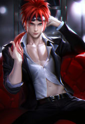 1boy aqua_eyes armchair belt dress_shirt earrings final_fantasy final_fantasy_vii goggles goggles_on_head long_hair looking_at_viewer male_focus navel open_collar ponytail red_hair red_upholstery reno sakimichan sitting solo tufted_upholstery