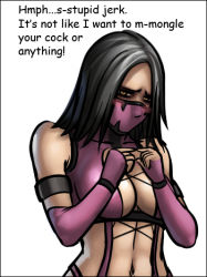 black_hair blush breasts fidgeting large_breasts lowres mask mileena mortal_kombat tagme text tsundere yellow_eyes