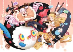 2girls ^_^ animal_hat blonde_hair candy charlotte_(madoka_magica) cup drill_hair eyes_closed hat highres magical_girl mahou_shoujo_madoka_magica mahou_shoujo_madoka_magica_movie maruneko momoe_nagisa multiple_girls multiple_persona open_mouth pantyhose pocky print_legwear smile suspenders teacup teapot tomoe_mami tongue tongue_out twin_drills white_hair yellow_eyes
