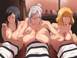 3girls angry areolae black_hair blonde_hair blue_eyes blush breast_squeeze breasts censored clenched_teeth clothed_male_nude_female glasses hair_bun highres huge_breasts indoors kurihara_mari_(prison_school) large_breasts long_hair looking_at_viewer lying midorikawa_hana mosaic_censoring multiple_girls nightmare_express nipples on_back orgy paizuri penis prison_school red_eyes shiraki_meiko short_hair tears white_hair window yellow_eyes