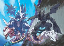 absurdres blue_sky cavern dialga haruka_(pokemon) haruka_(pokemon)_(remake) latias mega_latias mega_pokemon official_art palkia pokemon pokemon_(game) pokemon_oras portal_(object) reshiram sugimori_ken yuuki_(pokemon) yuuki_(pokemon)_(remake) zekrom