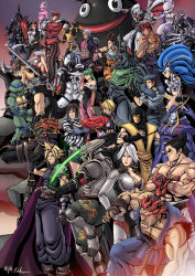 6+boys 6+girls akuma alien aliens_vs_predator animal armor assassin's_creed badass belt black_hair blade blazblue blonde_hair blue_eyes blue_hair bra breasts brown_eyes brown_hair carol_(skullgirls) castlevania christie_(doa) claws cleavage cloud_strife cornell crimson_viper crossover cyrax_(mortal_kombat) dark_skin dead_or_alive demon dissidia_012_final_fantasy dissidia_final_fantasy dragon_ball dragonball_z epic eternal_champions evil_ryuu eyes_closed ezio_auditore_da_firenze fan fatal_fury felicia fernandez final_fantasy fingerless_gloves ganondorf gloves glowing glowing_eyes gouki green_eyes green_hair gun hakumen hat headband highres hood huge_breasts jacket jedah jill_valentine killer_instinct king_of_fighters large_breasts leonardo linn_kurosawa lips long_hair majin_buu mask mewtwo michelle_chang midknight mishima_kazuya morrigan_aensland mortal_kombat multiple_boys multiple_girls nightmare_(soulcalibur) ninja_gaiden nose open_mouth painwheel_(skullgirls) pants pokemon purple_eyes rareware red_eyes red_hair resident_evil rock_howard ryu_hayabusa ryuu_(street_fighter) sabrewulf scar scarf scorpion_(mortal_kombat) shiranui_mai short_hair short_shorts skullgirls soul_calibur standing street_fighter super_smash_bros. sword teenage_mutant_ninja_turtles tekken the_legend_of_zelda vampire_(game) vega waku_waku_7 weapon white_eyes white_hair yellow_eyes yoshimitsu