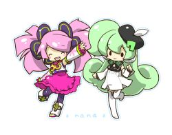 2girls :d apple_inc. arm_up bangs bare_shoulders beret blush blush_stickers boots bow character_name chibi detached_sleeves dress eyes_closed frilled_skirt frills green_hair haruka_nana hat headphones macintosh macloid macne_nana multiple_girls namesake open_mouth outline pink_hair sangatsu_youka shirt side_ponytail signature simple_background skirt sleeveless sleeveless_shirt smile solid_circle_eyes swept_bangs thigh_boots thighhighs twintails utau zipper
