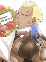 armor beard benoit_(fire_emblem_if) bird blonde_hair blue_eyes bouquet dark_skin dark_skinned_male facial_hair fire_emblem fire_emblem_if flower gloves happy_birthday leaf male_focus one_eye_closed portrait rose scar simple_background subaru_game teeth white_background
