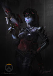 1girl alternate_costume artist_name ass bodysuit breasts copyright_name dark expressionless gloves glowing glowing_weapon gun hand_on_hip head_mounted_display highres holding holding_gun holding_weapon lips long_hair looking_at_viewer muhammed_ansar_ali overwatch ponytail purple_hair purple_lips purple_skin rifle signature sniper_rifle solo tattoo upper_body very_long_hair visor weapon widowmaker_(overwatch) yellow_eyes