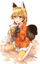 1girl animal_ears bangs black_gloves blazer blonde_hair blush bow bowtie brown_eyes brown_gloves extra_ears eyebrows_visible_through_hair ezo_red_fox_(kemono_friends) flying_sweatdrops fox_ears fox_girl fox_tail fur-trimmed_sleeves fur_trim game_console gloves gradient gradient_legwear hair_between_eyes hair_flaps handheld_game_console hands_up jacket japari_symbol kaerunoko kemono_friends long_hair long_sleeves looking_at_viewer miniskirt no_shoes open_mouth orange_jacket orange_legwear pantyhose pleated_skirt pocket sitting skirt solo tail thighhighs very_long_hair wariza white_bow white_bowtie white_legwear white_skirt yellow_legwear