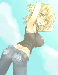 1girl armpits arms_behind_head black_shirt breasts butt_crack cloud cloudy_sky denim ga_geijutsuka_art_design_class hands_clasped interlocked_fingers jeans large_breasts light_brown_eyes light_brown_hair looking_at_viewer nozaki_namiko pale_color pants shirt sky solo sweat tank_top wanabeee
