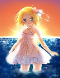 1girl 2017 amane_(amnk1213) artist_name backlighting bare_shoulders blonde_hair blue_eyes blur blurry blush dated depth_of_field dress droplet flat_chest flower frilled_dress frills hair_flower hair_ornament hair_ribbon highres kagamine_rin light_particles light_rays looking_at_viewer ocean open_mouth partially_submerged ribbon see-through_silhouette short_dress short_hair signature smile solo spaghetti_strap sparkle sun sunbeam sunburst sundress sunlight sunset vocaloid wading water water_drop
