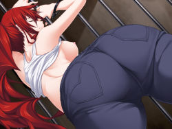 1girl alternate_costume ass bare_shoulders breasts denim eyes_closed from_behind handcuffs huge_ass jeans large_breasts leaning leaning_forward long_hair maji_de_watashi_ni_koi_shinasai! margit_eberbach nipples no_bra ponytail red_hair shiny shiny_skin sideboob solo