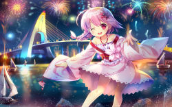 1girl ;d bangs bare_legs bare_shoulders boat braid bridge capura_lin contrapposto fireworks flower hair_flower hair_ornament highres japanese_clothes kimono lamppost long_hair long_sleeves looking_at_viewer night night_sky off_shoulder one_eye_closed open_mouth original outdoors outstretched_arms pink_hair reaching_out red_eyes short_kimono single_braid sky smile solo standing swept_bangs water wide_sleeves