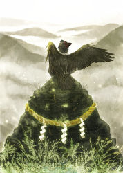 aohato back bird_tail black_wings grass mask mountain original rock rope scenery shimenawa sitting solo tengu tengu_mask wings