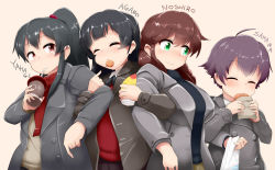 4girls agano_(kantai_collection) ahoge alternate_costume black_hair blush braid breasts brown_eyes brown_hair cardigan character_name coat croquette cup drinking eating eyes_closed green_eyes kantai_collection large_breasts locked_arms long_hair mizuyan multiple_girls noshiro_(kantai_collection) ponytail purple_hair sakawa_(kantai_collection) scarf short_hair smile straw sweater toothpick twin_braids yahagi_(kantai_collection)