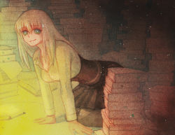 1girl all_fours arm_support bangs blonde_hair book book_stack dark_room green_eyes kneeling leaning_forward light light_particles looking_at_viewer pantyhose paper pixiv_fantasia pixiv_fantasia_t pleated_skirt sagi shirt skirt smile solo traditional_media watercolor_(medium)