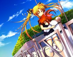 2girls artist_request blush bushes clouds crying eyes_closed fate_testarossa hair_ornament hug lights looking_at_another lyrical_nanoha mahou_shoujo_lyrical_nanoha multiple_girls pigtails railing red_eyes ribbon sky takamachi_nanoha tears twintails yuri