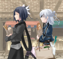1boy 1girl aq_interactive bag black_hair blue_eyes eyepatch food half_updo long_hair manamia manamia_(the_last_story) mistwalker nintendo scarf smile the_last_story white_hair yuris_(the_last_story)