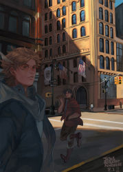 american_flag artist_name blonde_hair boots brown_boots brown_hair building caesar_anthonio_zeppeli copyright_name dated jacket jojo_no_kimyou_na_bouken joseph_joestar_(young) road road_sign scarf shade sign signature street traffic_light winged_hair_ornament z.i