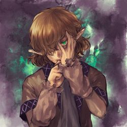 1girl arm_warmers blonde_hair evil green_eyes hair_over_one_eye hand_on_own_face looking_at_viewer mizuhashi_parsee pointy_ears scarf short_hair short_sleeves t_g touhou