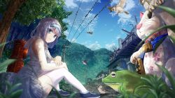 1girl animal bird black_shoes blue_eyes blue_sky blurry building cloud clouds cloudy_sky day eyebrows eyebrows_visible_through_hair frog grass hairband hood looking_at_viewer maneki-neko mountain nature original pleated_skirt power_lines rubble rural shade shoes silver_hair sitting skirt sky sleeveless sleeveless_hoodie sneakers sparrow thighhighs tree white_legwear white_skirt windfeathers