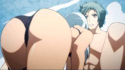 1boy 1girl animated animated_gif ass ass_shake bikini bra dark_skin hyakka_ryouran_samurai_girls long_hair panties summer swimsuit underwear white_hair yagyuu_gisen yagyuu_muneakira